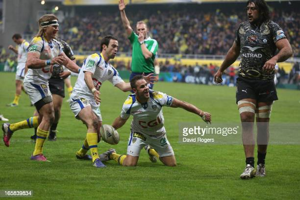 Lee Byrne of Clermont Auvergne celebrates after scoring a try during the Heineken Cup quarter final match between Clermont Auvergne and Montpellier...