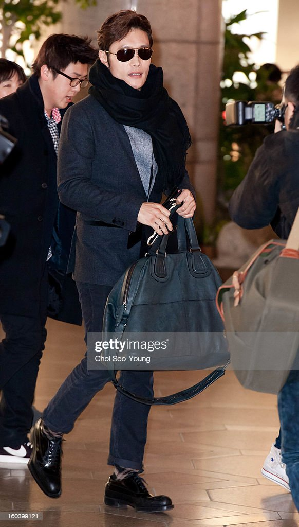 Lee Byung-Hun departs for Japan at Gimpo International Airport on January 30, 2013 in Seoul, South Korea.