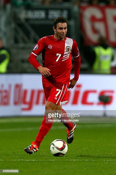 Lee Casciaro of Gibraltar runs with the ball during the EURO 2016 Group D Qualifier match between Germany and Gibraltar at Grundig Stadion on...