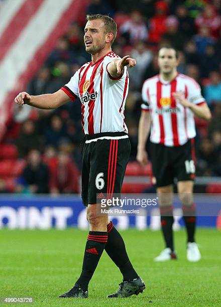 Lee Cattermole of Sunderland gestures during the Barclays Premier League match between Sunderland AFC and Stoke City FC at the Stadium of Light on...
