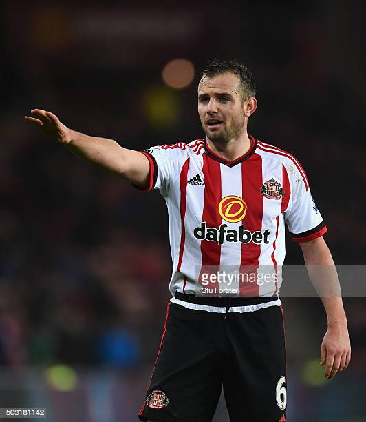 Lee Cattermole of Sunderland reacts during the Barclays Premier League match between Sunderland and Aston Villa at Stadium of Light on January 2 2016...