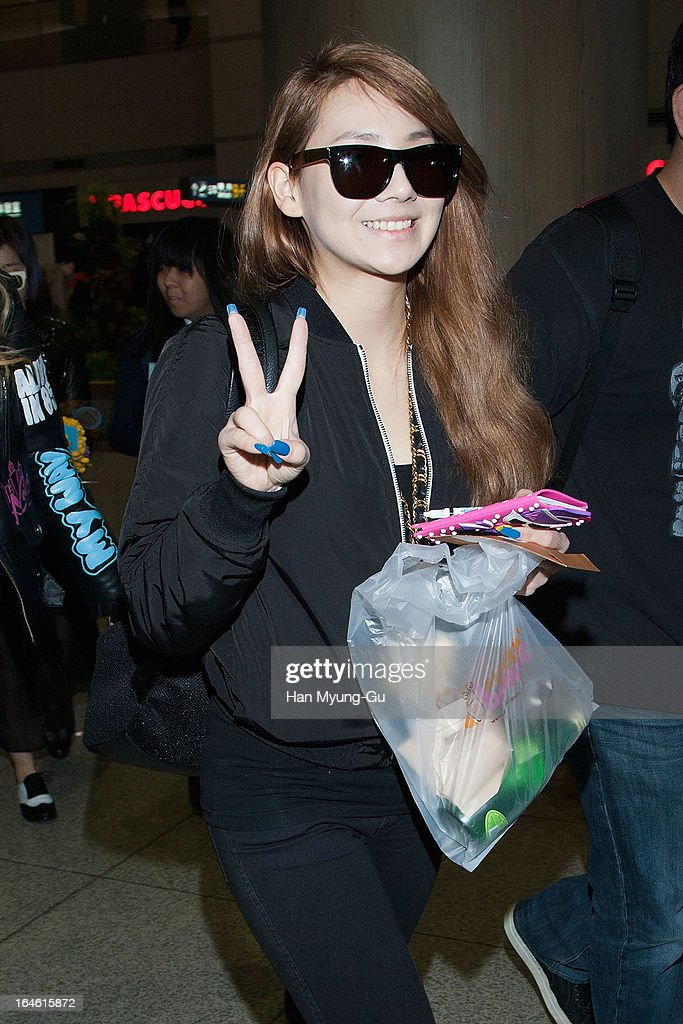 Lee Chae-Rin (CL) of South Korean girl group 2NE1 is seen upon arrival at Incheon International Airport on March 25, 2013 in Incheon, South Korea.