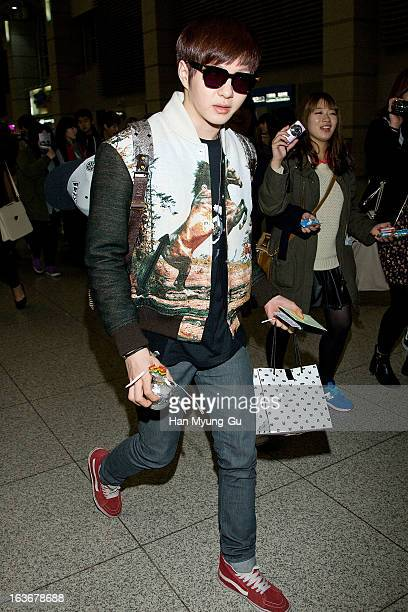 Lee ChangSub of South Korean boy band BtoB is seen on departure to Thailand at Incheon International Airport on March 14 2013 in Incheon South Korea