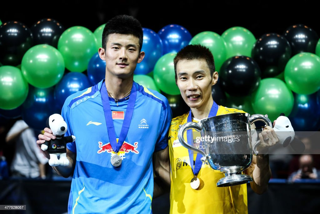 <a gi-track='captionPersonalityLinkClicked' href=/galleries/search?phrase=Lee+Chong+Wei&family=editorial&specificpeople=647820 ng-click='$event.stopPropagation()'>Lee Chong Wei</a> (R) of Malaysia and <a gi-track='captionPersonalityLinkClicked' href=/galleries/search?phrase=Chen+Long+-+Badminton+Player&family=editorial&specificpeople=9613842 ng-click='$event.stopPropagation()'>Chen Long</a> (L) of China pose for photograph after their All England Open Badminton Championships men's singles final match on March 9, 2014, in Birmingham, England.