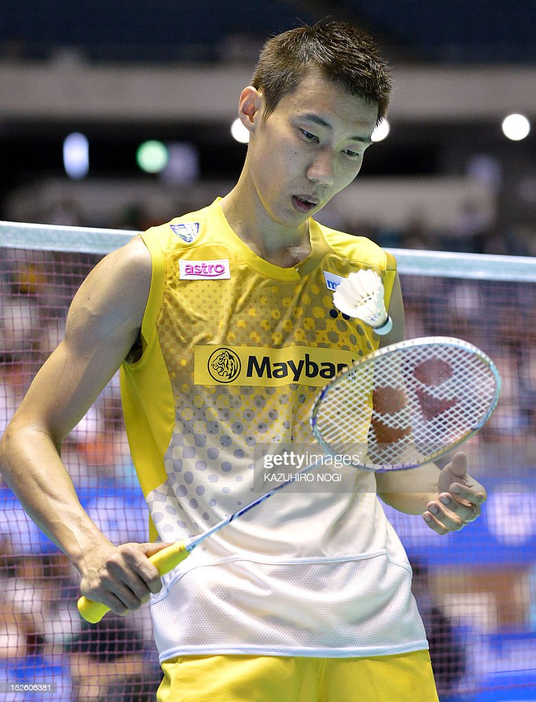 Lee Chong Wei of Malaysia attends the men's singles final against Boonsak Ponsana of Thailand at the Japan Open badminton tournament in Tokyo on September 23, 2012. Lee Chong Wei won the match 21-18, 21-18.