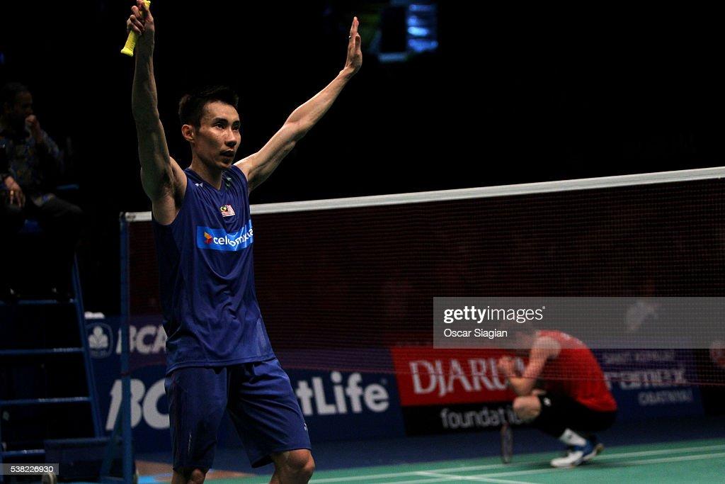Lee Chong Wei of Malaysia celebrate winning the 2016 Indonesia Open final match in man single against Jan O Jorgensen of Denmark on June 5, 2016 in Jakarta, Indonesia.