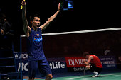 Lee Chong Wei of Malaysia celebrate winning the 2016 Indonesia Open final match in man single against Jan O Jorgensen of Denmark on June 5 2016 in...