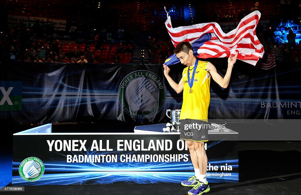 <a gi-track='captionPersonalityLinkClicked' href=/galleries/search?phrase=Lee+Chong+Wei&family=editorial&specificpeople=647820 ng-click='$event.stopPropagation()'>Lee Chong Wei</a> of Malaysia celebrates after beating Chen Long of China in their All England Open Badminton Championships men's singles final match on March 9, 2014, in Birmingham, England.