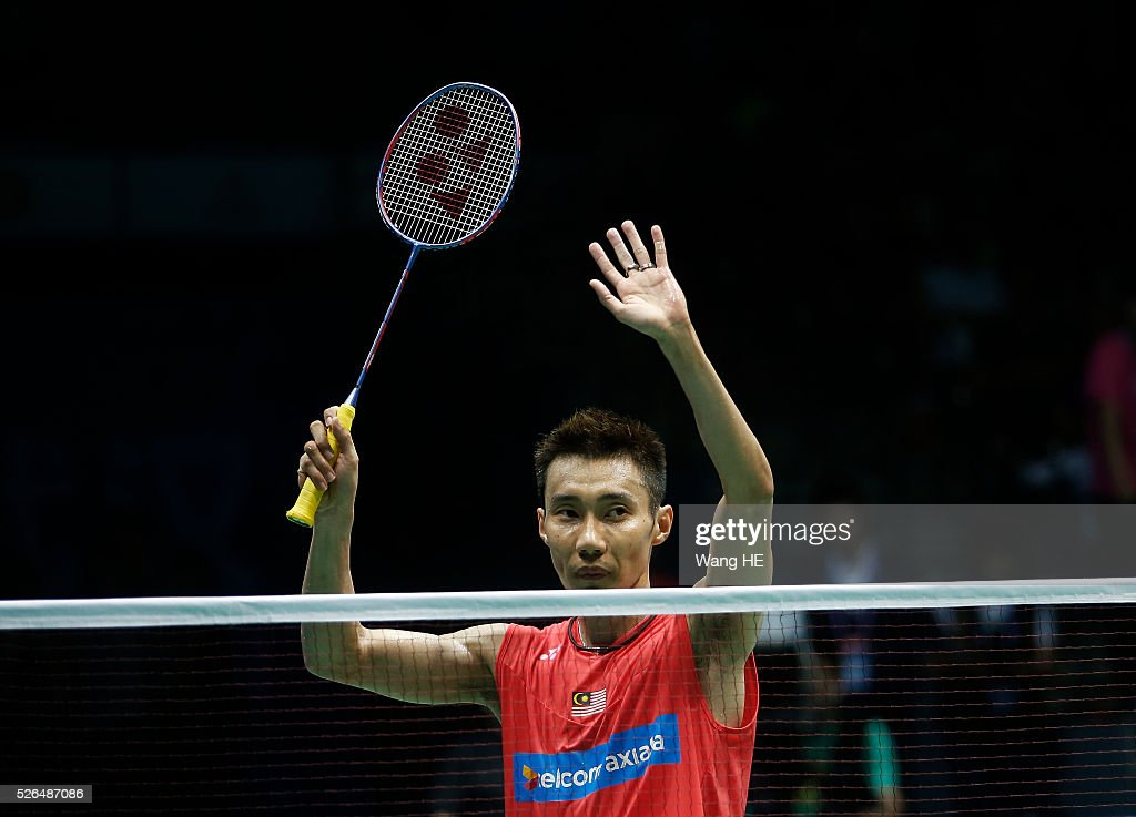 Lee Chong Wei of Malaysia celebrates after defeating Li Dan of China during their men's singles semi-final match at the 2016 Badminton Asia Championships, in Wuhan, Hubei province, China, April 30, 2016.