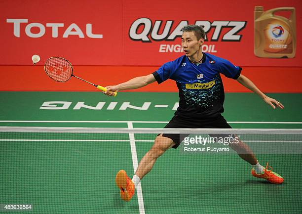 Lee Chong Wei of Malaysia competes against Kestutis Navickas of Lithuania in the 2015 Total BWF World Championship at Istora Senayan on August 11...