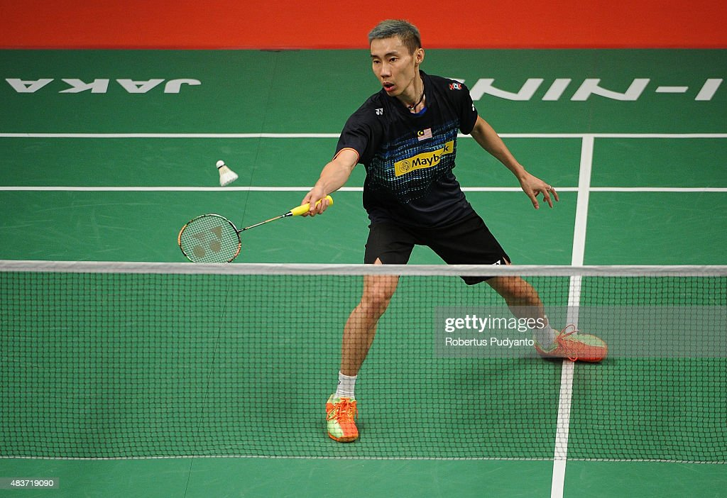 <a gi-track='captionPersonalityLinkClicked' href=/galleries/search?phrase=Lee+Chong+Wei&family=editorial&specificpeople=647820 ng-click='$event.stopPropagation()'>Lee Chong Wei</a> of Malaysia competes against Marc Zwiebler of Germany in the 2015 Total BWF World Championship at Istora Senayan on August 12, 2015 in Jakarta, Indonesia.