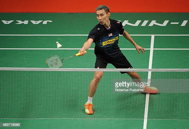 Lee Chong Wei of Malaysia competes against Marc Zwiebler of Germany in the 2015 Total BWF World Championship at Istora Senayan on August 12 2015 in...