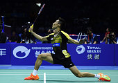 TOPSHOT Lee Chong Wei of Malaysia hits a return against Son Wan Ho of South Korea during their men's singles group match at the Thomas Cup badminton...