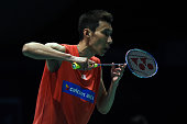 Lee Chong Wei of Malaysia in action against Son Wan Ho of South Korea during day three of the Men Singles during the BWF World Super Series Badminton...