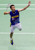 Lee Chong Wei of Malaysia in action against Sony Dwi Kuncoro of Indonesia during the men singles final match during the YonexSunrise Hong Kong Open...