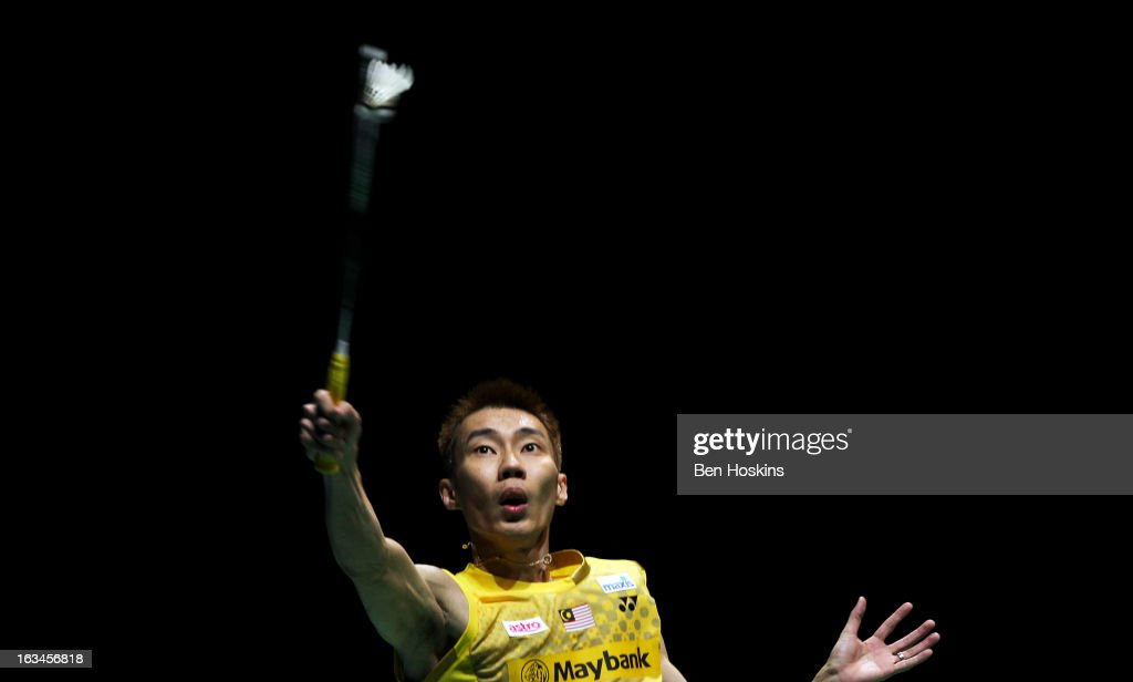 <a gi-track='captionPersonalityLinkClicked' href=/galleries/search?phrase=Lee+Chong+Wei&family=editorial&specificpeople=647820 ng-click='$event.stopPropagation()'>Lee Chong Wei</a> of Malaysia in action during Day 6 of the Yonex All England Badminton Open at NIA Arena on March 10, 2013 in Birmingham, England.