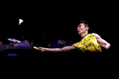 Lee Chong Wei of Malaysia in action during the men's single final of the 2014 Singapore Open at Singapore Indoor Stadium on April 13 2014 in Singapore