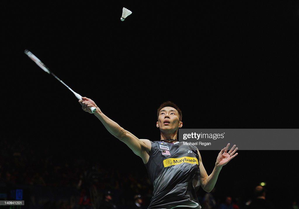 <a gi-track='captionPersonalityLinkClicked' href=/galleries/search?phrase=Lee+Chong+Wei&family=editorial&specificpeople=647820 ng-click='$event.stopPropagation()'>Lee Chong Wei</a> of Malaysia in action in his mens match against Hans-Kristian Vittinghus of Denmark during the Yonex All England Badminton Open Championship at the NIA on March 8, 2012 in Birmingham, England.