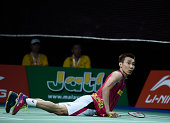 Lee Chong Wei of Malaysia in action in the mens single against Chen Long of China in the finals during the LiNing BWF World Badminton Championships...