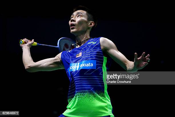 Lee Chong Wei of Malaysia keeps his eye on the shuttle during his men's singles match against Son Wan Ho of Korea on Day One of the BWF Dubai World...