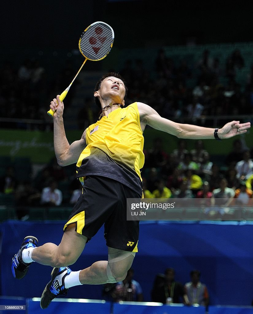 Lee Chong Wei of Malaysia leaps to smash