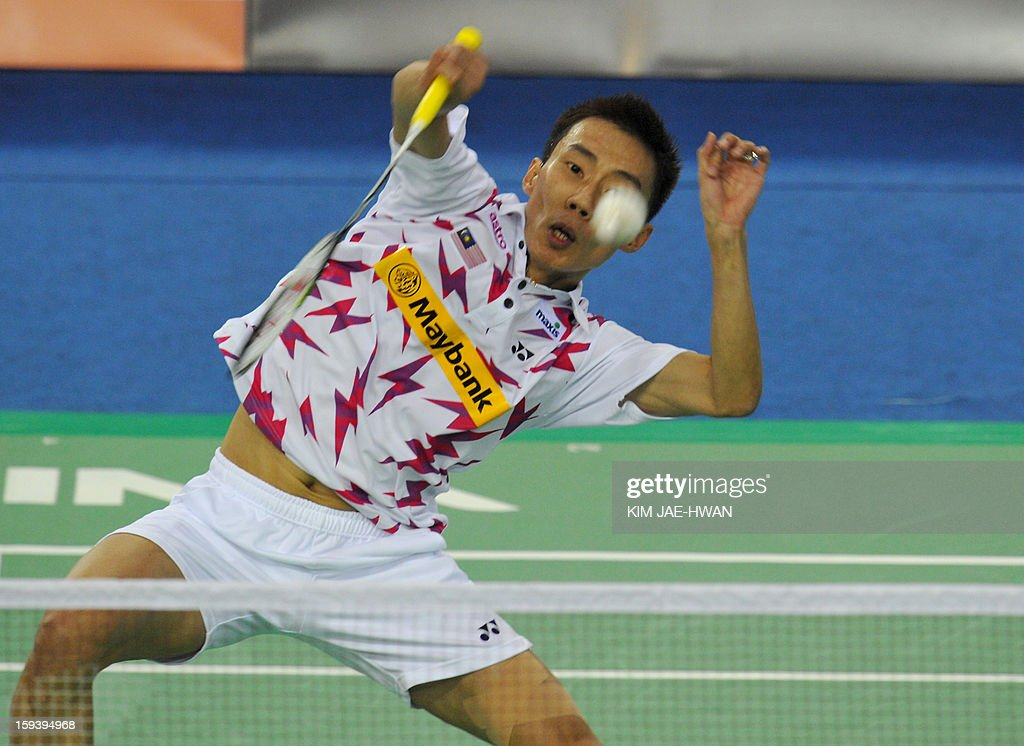 Lee Chong Wei of Malaysia plays a shot during his men's singles badminton match against Pengyu Du of China during the finals of the Korea Open in Seoul on January 13, 2013.