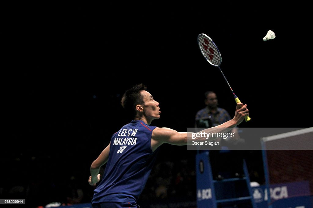 Lee Chong Wei of Malaysia plays a shot during the 2016 Indonesia Open final match in single against Jan O Jorgensen of Denmark on June 5, 2016 in Jakarta, Indonesia.