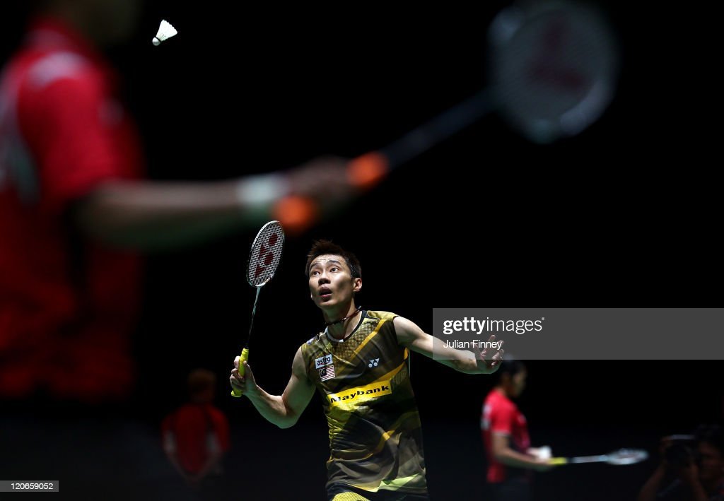 <a gi-track='captionPersonalityLinkClicked' href=/galleries/search?phrase=Lee+Chong+Wei&family=editorial&specificpeople=647820 ng-click='$event.stopPropagation()'>Lee Chong Wei</a> of Malaysia plays a shot in his match against Tanongsak Saensomboonsuk of Thailand during day one of the BWF World Badminton Championships and LOCOG Test Event for London 2012 at Wembley Arena on August 8, 2011 in London, England.