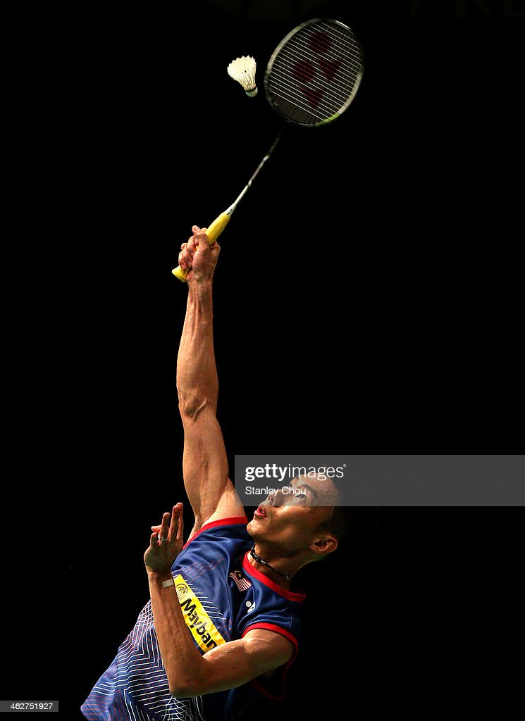 Lee Chong Wei of Malaysia plays a shot to Hans Kristian Vittinghus of Denmark during day two of the Men's Singles of the Malaysia Badminton Open at the Putra Indoor Stadium on January 15, 2014 in Kuala Lumpur, Malaysia.