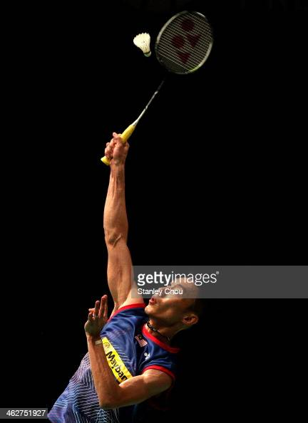 Lee Chong Wei of Malaysia plays a shot to Hans Kristian Vittinghus of Denmark during day two of the Men's Singles of the Malaysia Badminton Open at...