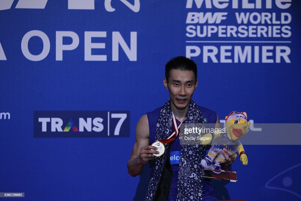 Lee Chong Wei of Malaysia pose on the podium after win the 2016 Indonesia in Man's single final match against Jan O Jorgensen of Denmark on June 5, 2016 in Jakarta, Indonesia.