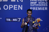 Lee Chong Wei of Malaysia pose on the podium after win the 2016 Indonesia in Man's single final match against Jan O Jorgensen of Denmark on June 5...