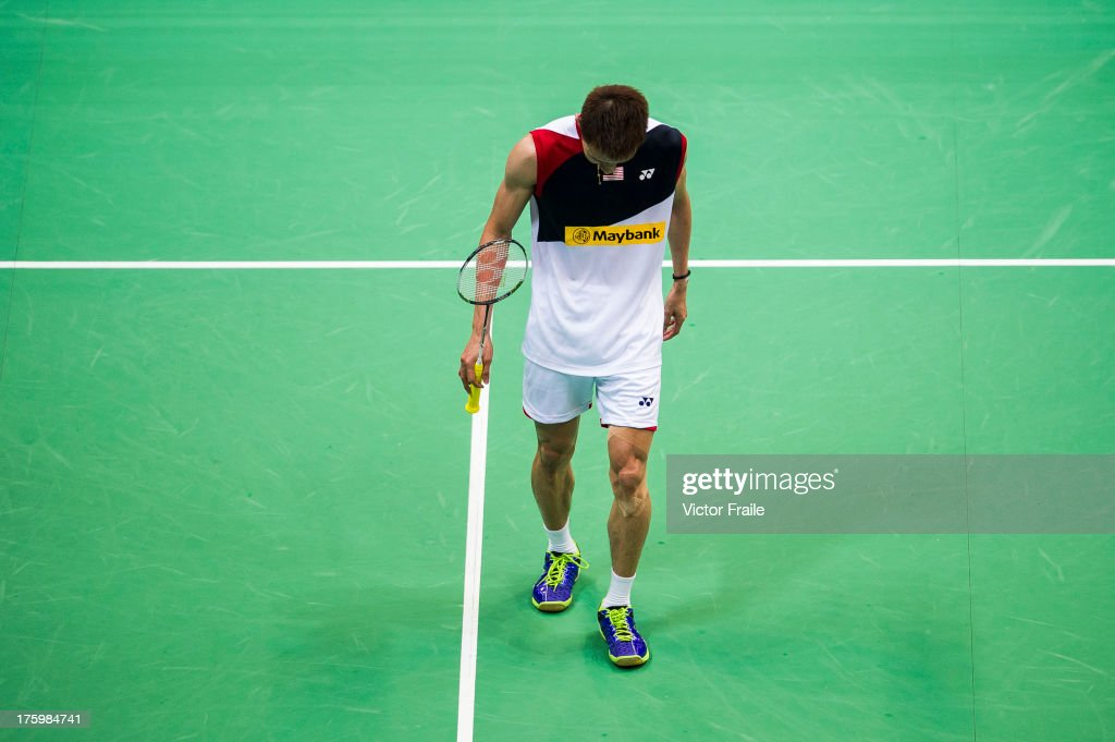 <a gi-track='captionPersonalityLinkClicked' href=/galleries/search?phrase=Lee+Chong+Wei&family=editorial&specificpeople=647820 ng-click='$event.stopPropagation()'>Lee Chong Wei</a> of Malaysia reacts after losing a point during the men's singles final match against Lin Dan of China during the Badminton World Championships at the Tianhe Gymnasium on August 11, 2013 in Guangzhou, China.