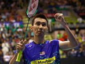 Lee Chong Wei of Malaysia reacts after winning the match between Lee Chong Wei of Malaysia and Tian Houwei of China at the final of Men's Single of...