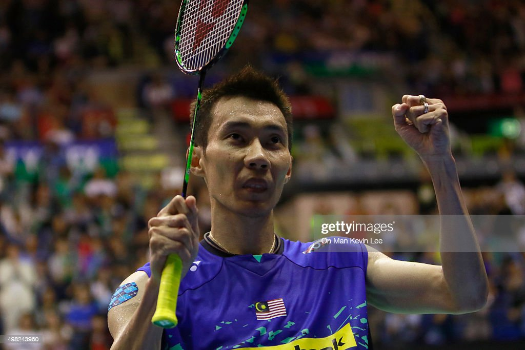 Lee Chong Wei of Malaysia reacts after winning the match between Lee Chong Wei of Malaysia and Tian Houwei of China at the final of Men's Single of Yonex-Sunsrise Hong Kong Open 2015 on November 22, 2015 in Hong Kong, Hong Kong.