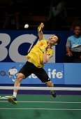 Lee Chong Wei of Malaysia returns a shot against Sony Dwi Kuncoro of Indonesia during the BCA Indonesia Open 2014 MetLife BWF World Super Series...