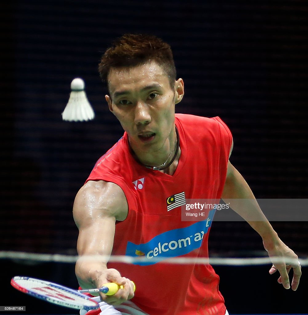 Lee Chong Wei of Malaysia returns a shot during Men's singles semi-final match against Li Dan of China at the 2016 Badminton Asia Championships, in Wuhan, Hubei province, China, April 30, 2016.