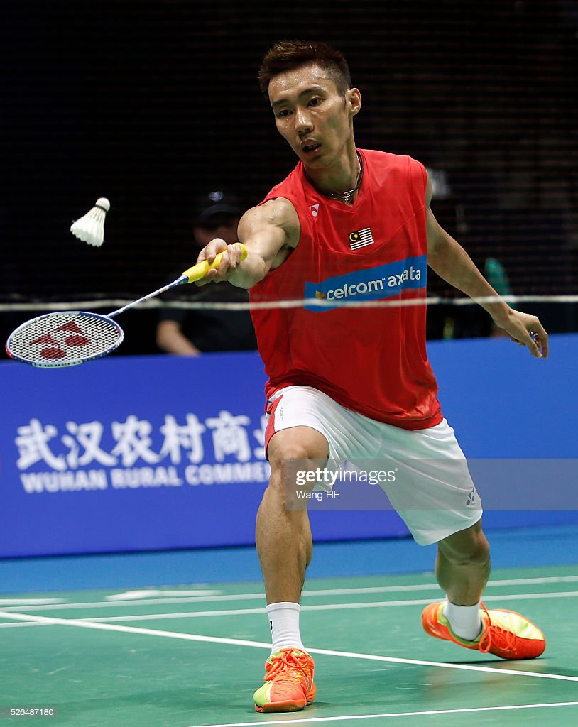lee Chong Wei of Malaysia returns a shot during Men's singles semi-final match against Li Dan of China at the 2016 Badminton Asia Championships, in Wuhan, Hubei province, China, April 30, 2016.