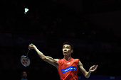 Lee Chong Wei of Malaysia returns to Son Wan Ho of South Korea during day three of the Men Singles during the BWF World Super Series Badminton...