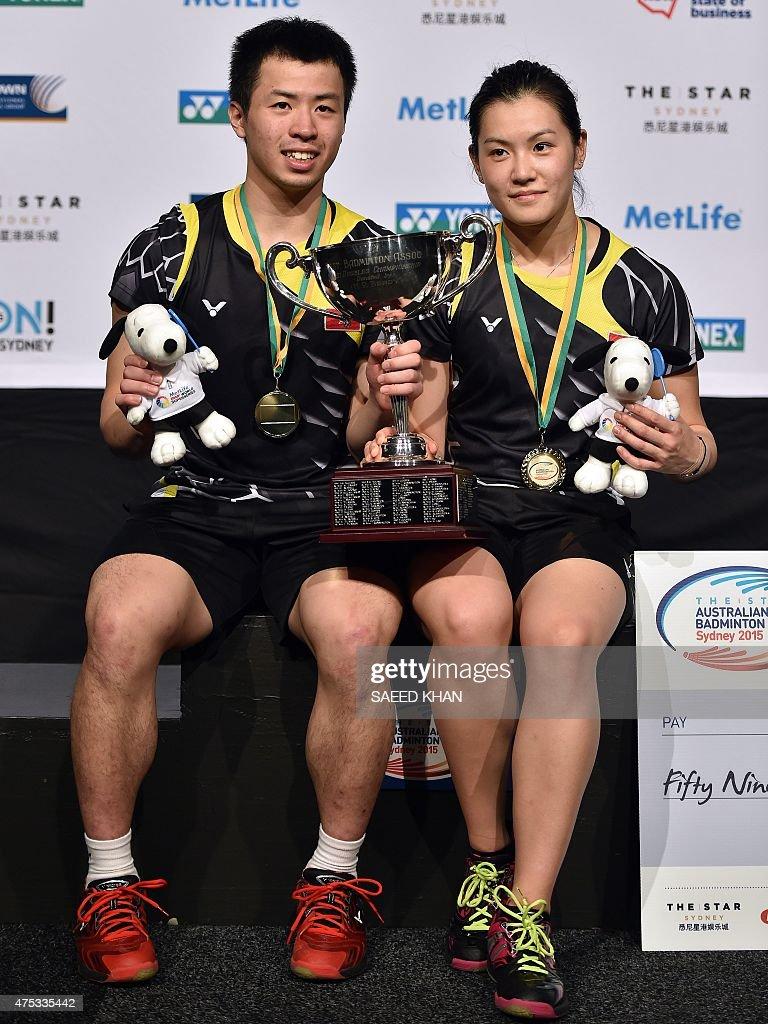 Lee Chun Hei Reginald L and Chau Hoi Wah of Hong Kong pose for