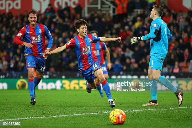 Lee Chungyong of Crystal Palace celebrates scoring his team's second goal during the Barclays Premier League match between Stoke City and Crystal...