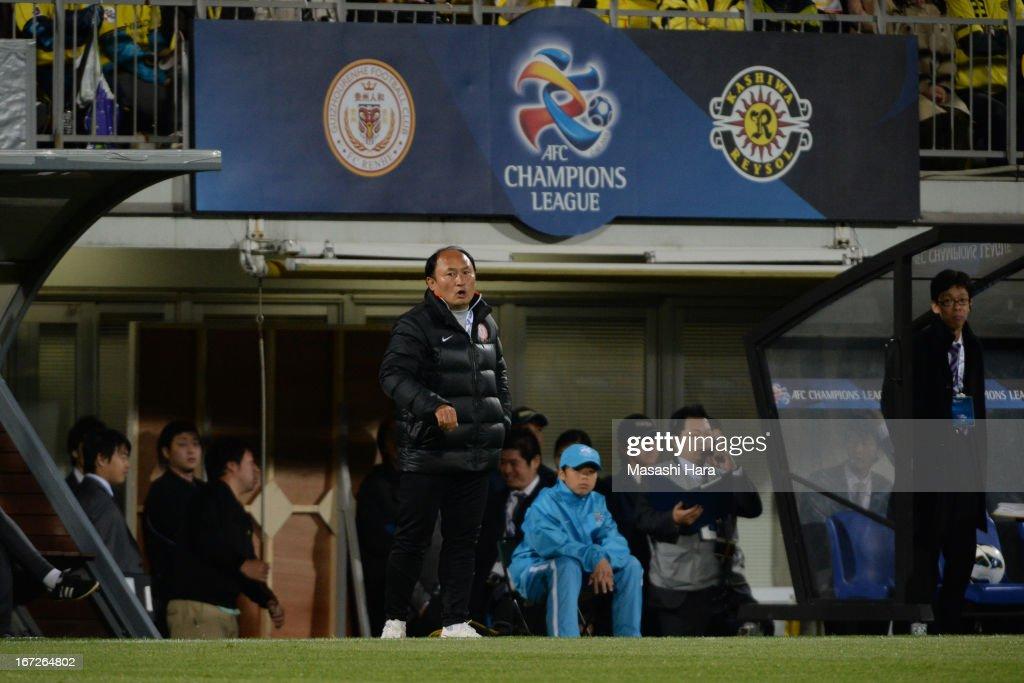 Lee Chunman,coach of Guizhou Renhe looks on during the AFC Champions League Group H match between Kashiwa Reysol and Guizhou Renhe at Hitachi Kashiwa Soccer Stadium on April 23, 2013 in Kashiwa, Japan.