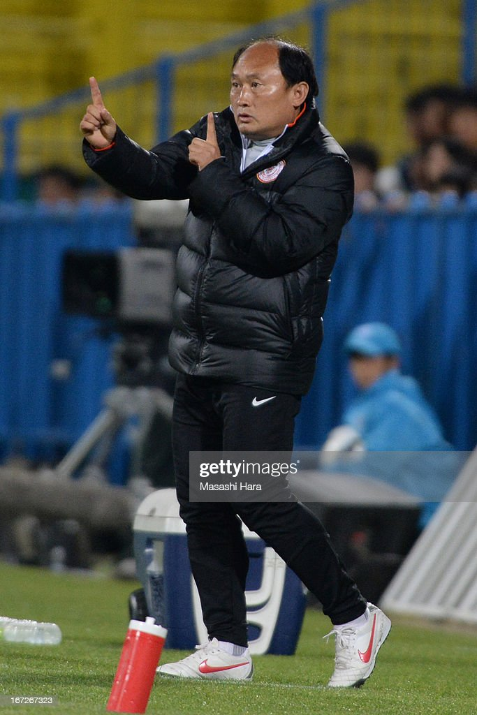 Lee Chunman,coach of Guizhou Renhe looks on during the AFC Champions League Group H match between Kashiwa Reysol and Guizhou Renhe at Hitachi Kashiwa Soccer Stadium on April 23, 2013 in Kashiwa, Japan.