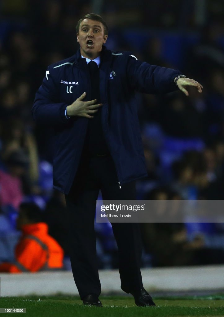 Lee Clark, manager of Birmingham City gives out instructions during the npower Championship match between Birmingham City and Blackpool at St Andrews on March 5, 2013 in Birmingham, England.