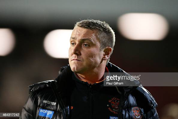 Lee Clark the manager of Blackpool looks on during the Sky Bet Championship match between Brentford and Blackpool at Griffin Park on February 24 2015...