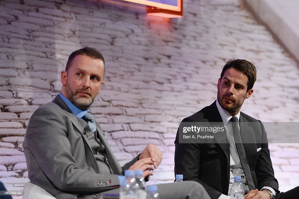 Lee Clayton, Daily Mail & MailOnline, Head of Sport and Jamie Redknapp, Former England and Liverpool midfielder; Daily Mail and MailOnline columnist; Sky Sports pundit. at It's all Kicking Off at the ITV Stage at Princess Anne during day four of Advertising Week Europe held at BAFTA 195 Piccadilly on April 3, 2014 in London, England.