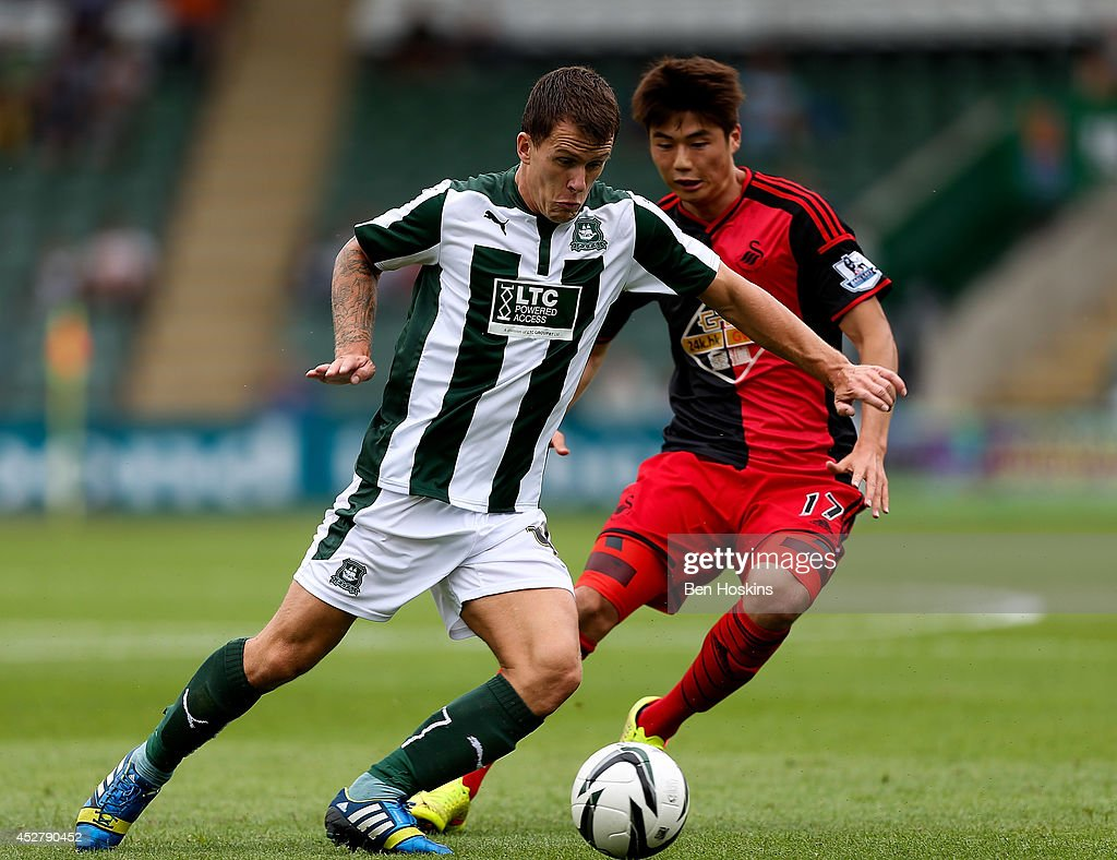 Lee Cox Of Plymouth Holds Off Pressure From Ki Sung Yeung Swansea During The