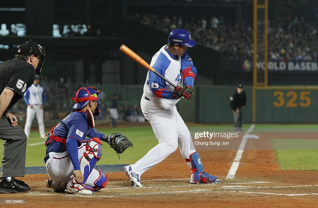 Lee Dae-Ho of South Korea bats in the sixth inning during the World Baseball Classic First Round Group B match between Chinese Taipei and South Korea at Intercontinental Baseball Stadium on March 5, 2013 in Taichung, Taiwan.