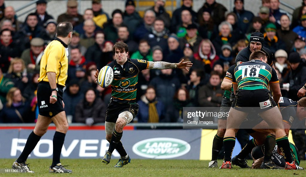 Lee Dickson kicks during the Aviva Premiership match between Northampton Saints and Gloucester at Franklins Gardens on February 9, 2013 in Northampton, England.