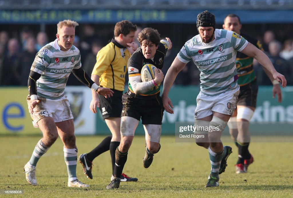 Lee Dickson of Northampton charges upfield during the Aviva Premiership match between Northampton Saints and London Irish at Franklin's Gardens on March 2, 2013 in Northampton, England.